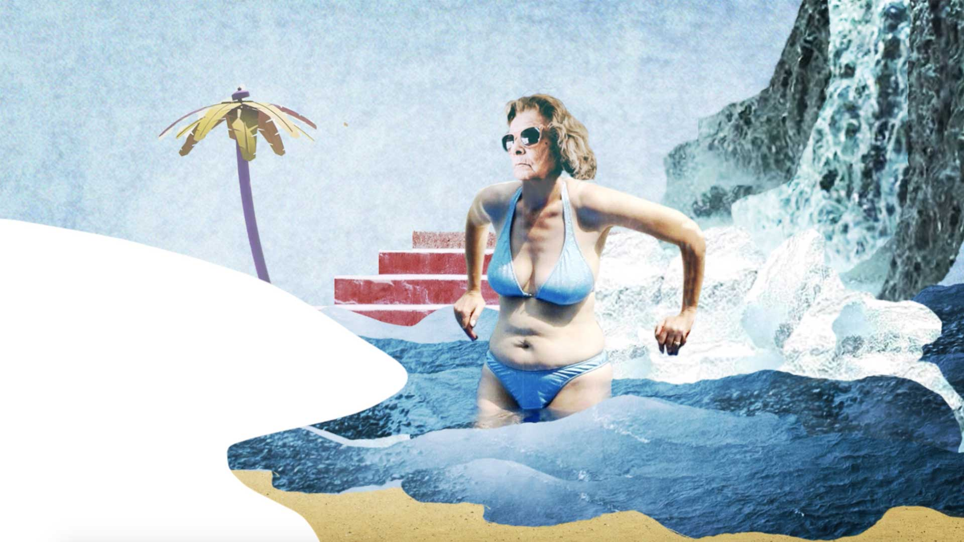 femme cascade photomontage baignade plage escalier palmier
