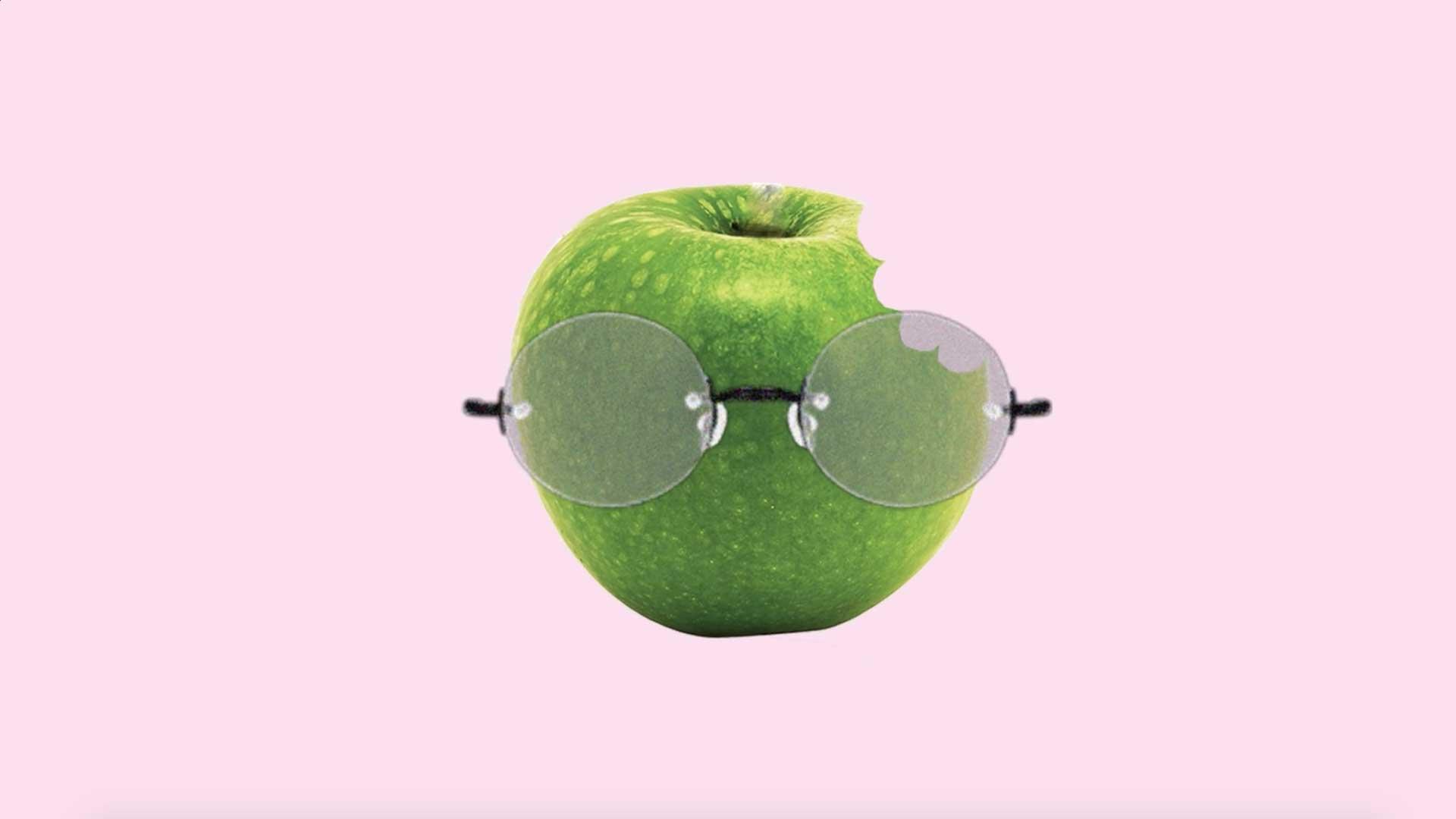 photomontage pomme croquée croquer lunette rose vert