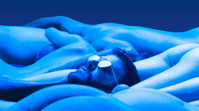 corps paysage bleu lune reflets visage émerger